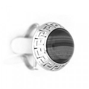 925 Sterling Silver women's rings with carnelian and obsidian
