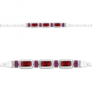 925 Sterling Silver bracelets with nano-tourmaline and nano grenades