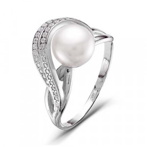 925 Sterling Silver women's rings with cubic zirconia and pearl