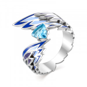 925 Sterling Silver women's rings with topaz and enamel