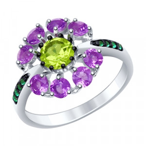 925 Sterling Silver women's rings with amethyst and chrysolite