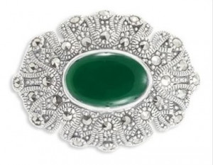 925 Sterling Silver brooches with synthetic green agate