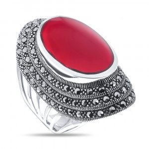 925 Sterling Silver women's rings with carnelian and marcasite