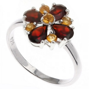 925 Sterling Silver women's ring with citrine and garnet