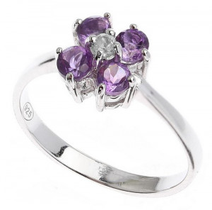 925 Sterling Silver women's ring with amethyst and cubic zirconia