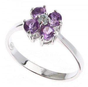 925 Sterling Silver women's ring with topaz and amethyst