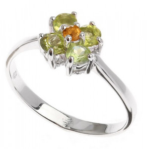 925 Sterling Silver women's ring with citrine and chrysolite