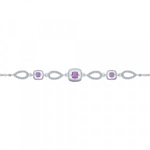 925 Sterling Silver bracelets with amethyst and cubic zirconia