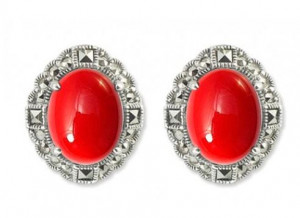 925 Sterling Silver pair earrings with imit. coral