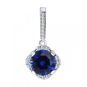 925 Sterling Silver pendants with cubic zirconia and synthetic corundum