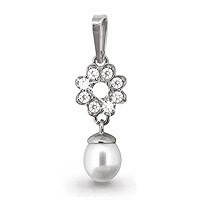 925 Sterling Silver pendants with cubic zirconia and pearl cult.
