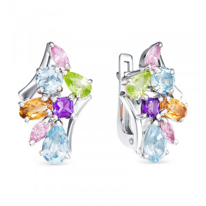 925 Sterling Silver pair earrings with nano sitall and topaz