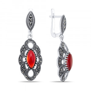 925 Sterling Silver pair earrings with carnelian and synthetic carnelian