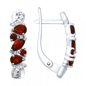 925 Sterling Silver pair earrings with garnet and cubic zirconia