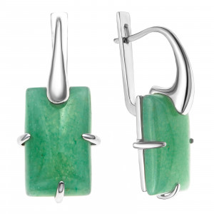 925 Sterling Silver pair earrings with jade and synthetic turquoise