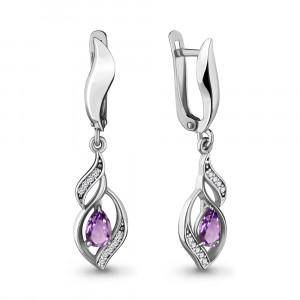 925 Sterling Silver pair earrings with amethyst and cubic zirconia