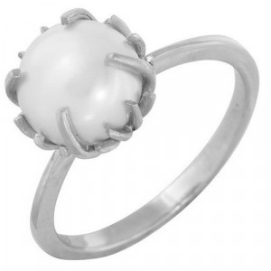 925 Sterling Silver women's ring with pearl cult. and pearl