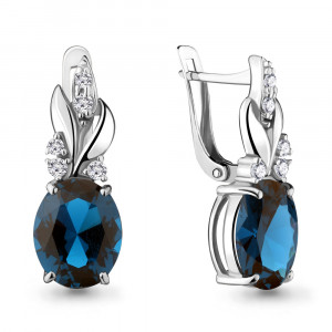 925 Sterling Silver pair earrings with nano london topaz and cubic zirconia