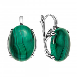 925 Sterling Silver pair earrings with synthetic carnelian and malachite