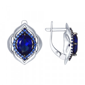 925 Sterling Silver pair earrings with synthetic sapphire and synthetic corundum