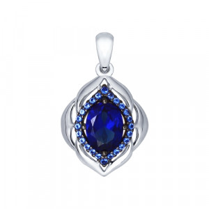 925 Sterling Silver pendants with synthetic sapphire and synthetic rubin