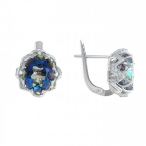 925 Sterling Silver pair earrings with mystic bluish and mystic quartz