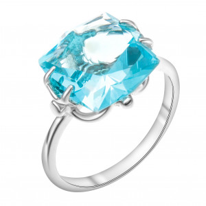 925 Sterling Silver women's rings with alpana and glass