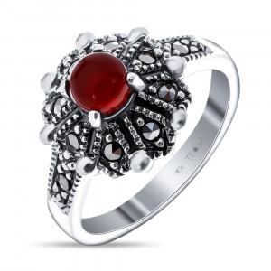 925 Sterling Silver women's ring with carnelian and marcasite