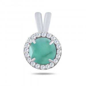 925 Sterling Silver pendants with emerald and cubic zirconia