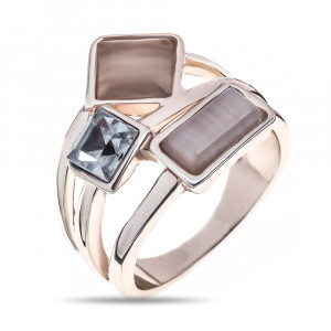 Bijuterii Alloy women's ring with cat's eye and cubic zirconia