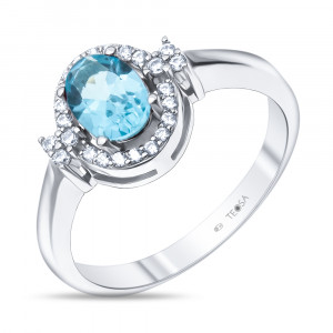 925 Sterling Silver women's rings with swiss topaz and cubic zirconia