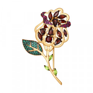 925 Sterling Silver brooches with garnet and chrysolite