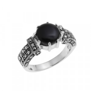 925 Sterling Silver women's ring with onyx and marcasite