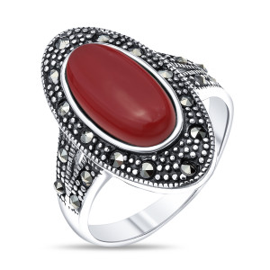 925 Sterling Silver women's rings with synthetic carnelian and marcasite