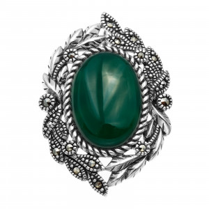925 Sterling Silver brooches with green agate