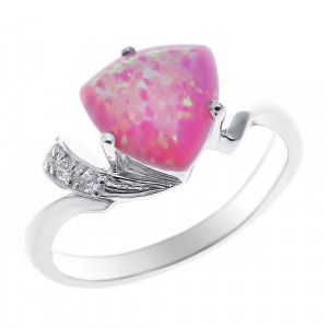 925 Sterling Silver women's ring with pink opal and cubic zirconia