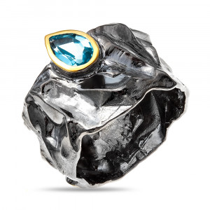 925 Sterling Silver women's rings with swiss topaz