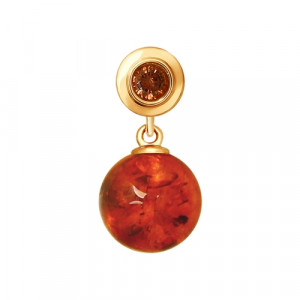 925 Sterling Silver pendants with cubic zirconia and amber