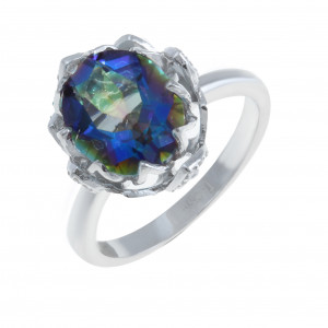 925 Sterling Silver women's rings with mystic quartz and