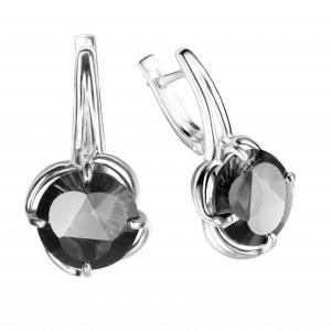 925 Sterling Silver pair earrings with quartz pl. moon opal