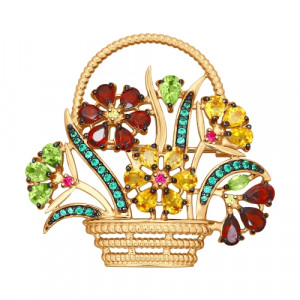 925 Sterling Silver brooches with chrysolite and garnet