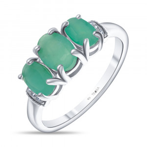 925 Sterling Silver women's rings with emerald and cubic zirconia