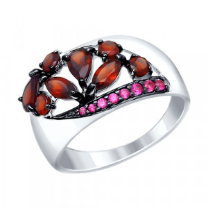 925 Sterling Silver women's rings with topaz and garnet