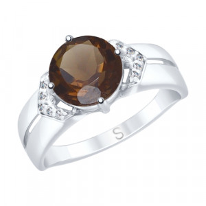 925 Sterling Silver women's rings with cubic zirconia and rauchtopaz