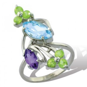 925 Sterling Silver women's ring with chrysolite and garnet