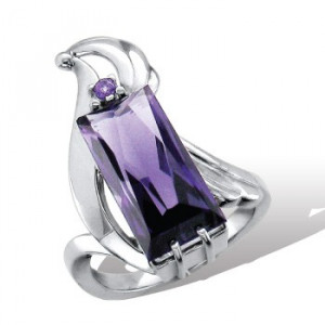 925 Sterling Silver women's ring with amethyst and topaz