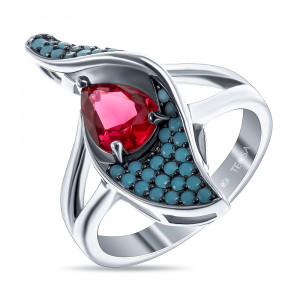 925 Sterling Silver women's rings with nano turquoise and synthetic rubin