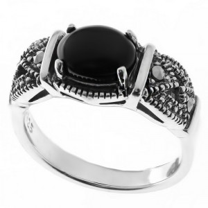 925 Sterling Silver women's rings with marcasite and onyx