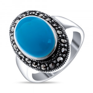 925 Sterling Silver women's rings with marcasite and turquoise