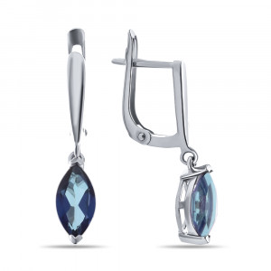 925 Sterling Silver pair earrings with topaz indigo